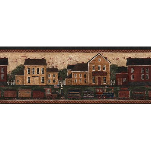 Country Train Wallpaper Border in Border Resource Home 500x500