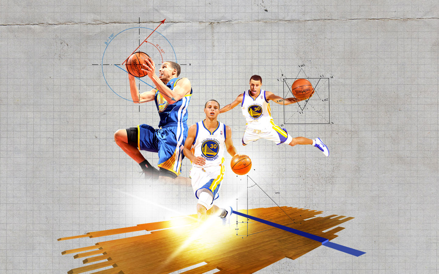 Steph Curry Blue Print 1440x900