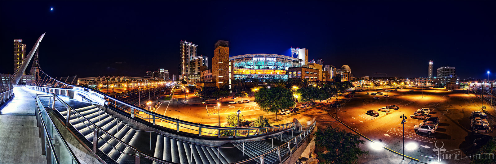 Petco Park from Harbor Drive Bridge by timothylgreen 1600x531