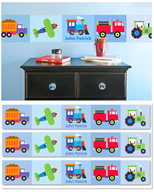 Trains Airplanes Trucks Wall Border Peel Stick Personalized Decal 491x611