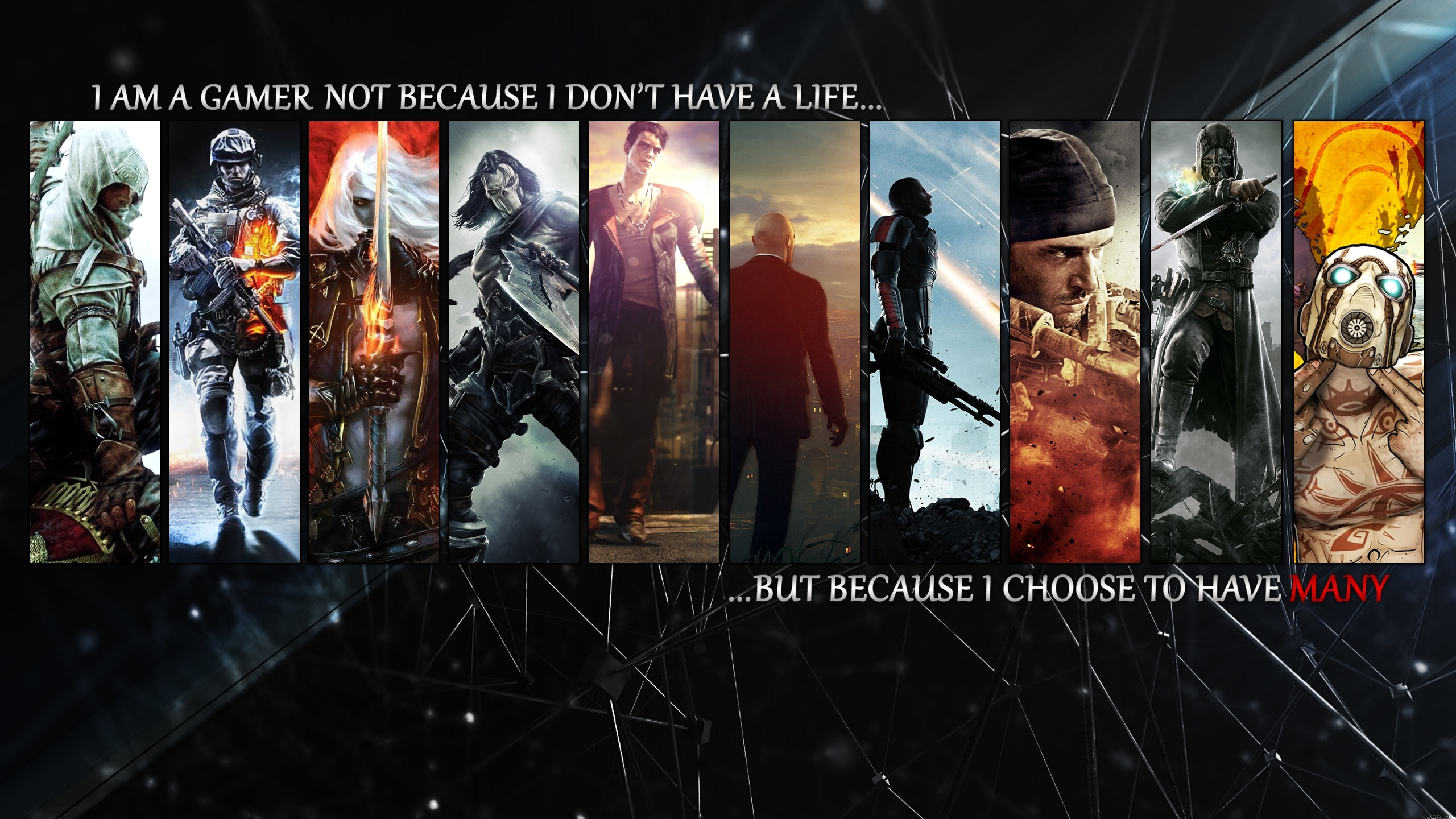 video games mass effect devil may cry collage battlefield 3 assassins 2560x1440