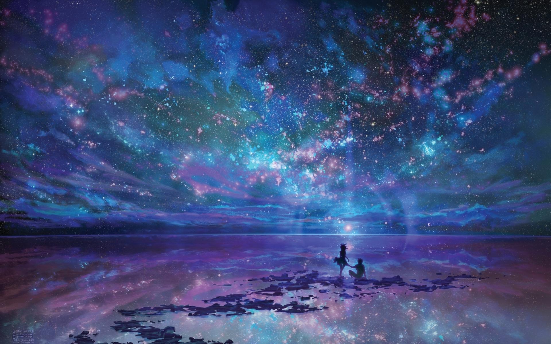 Night Stars Ocean Couple HD Desktop wallpaper images and photos 1920x1200