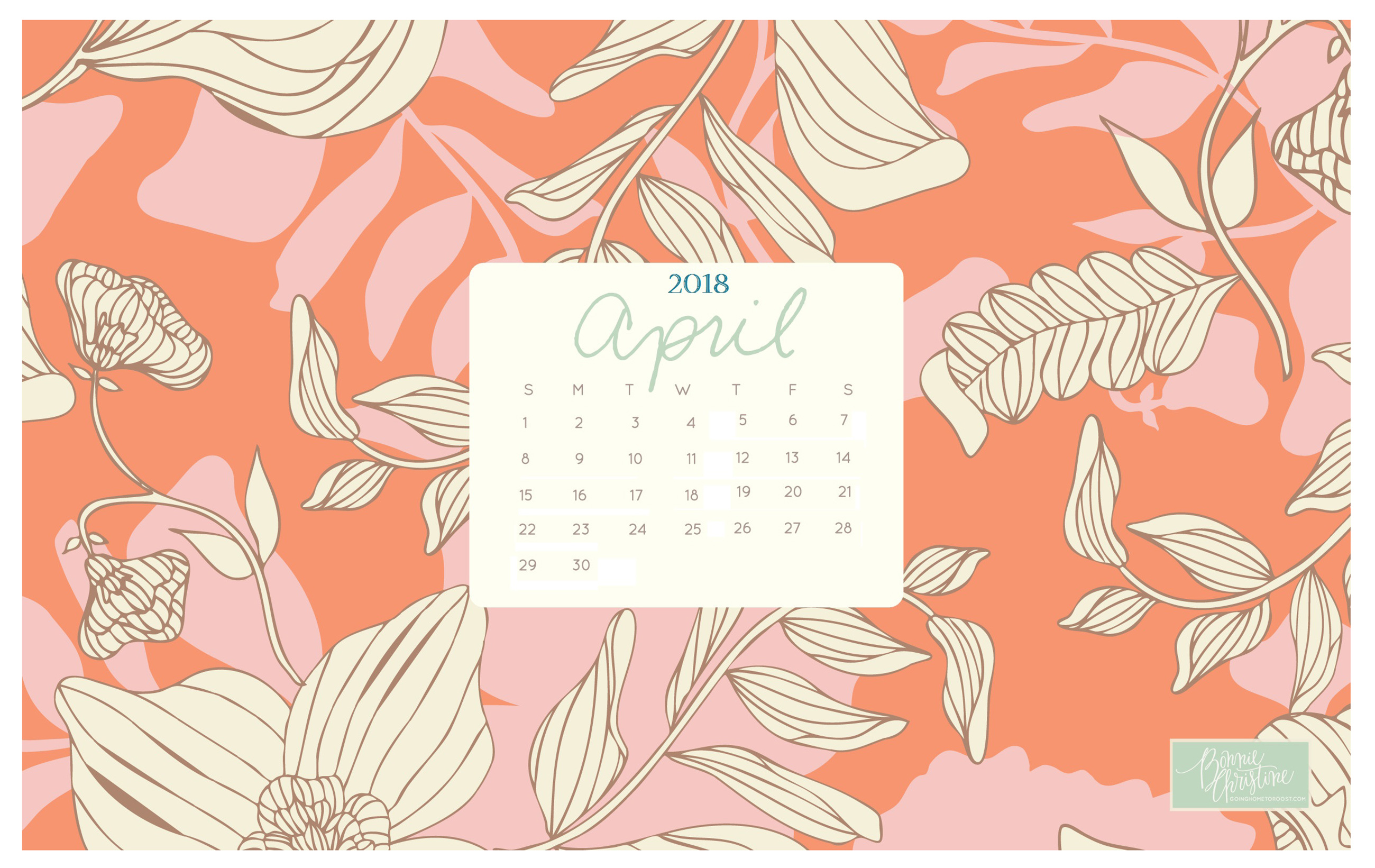 Wallpaper with April 2018 Calendar for PC iPad and SmartPhone 2600x1641