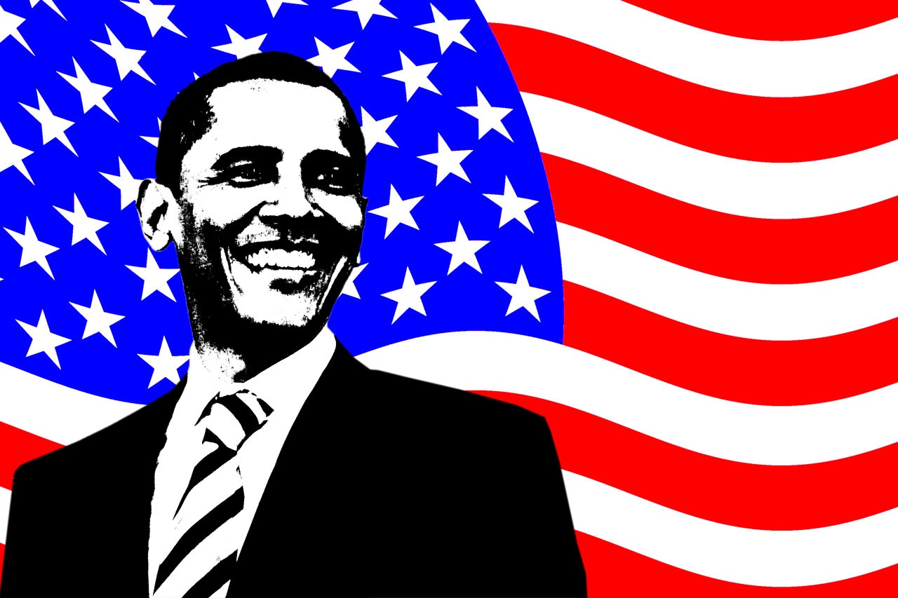Barack Obama American flag background HD wallpaper background 1280x853