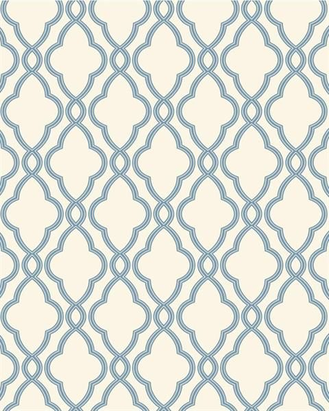 Blue and White Hampton Trellis Wallpaper TotalWallcoveringCom 480x600
