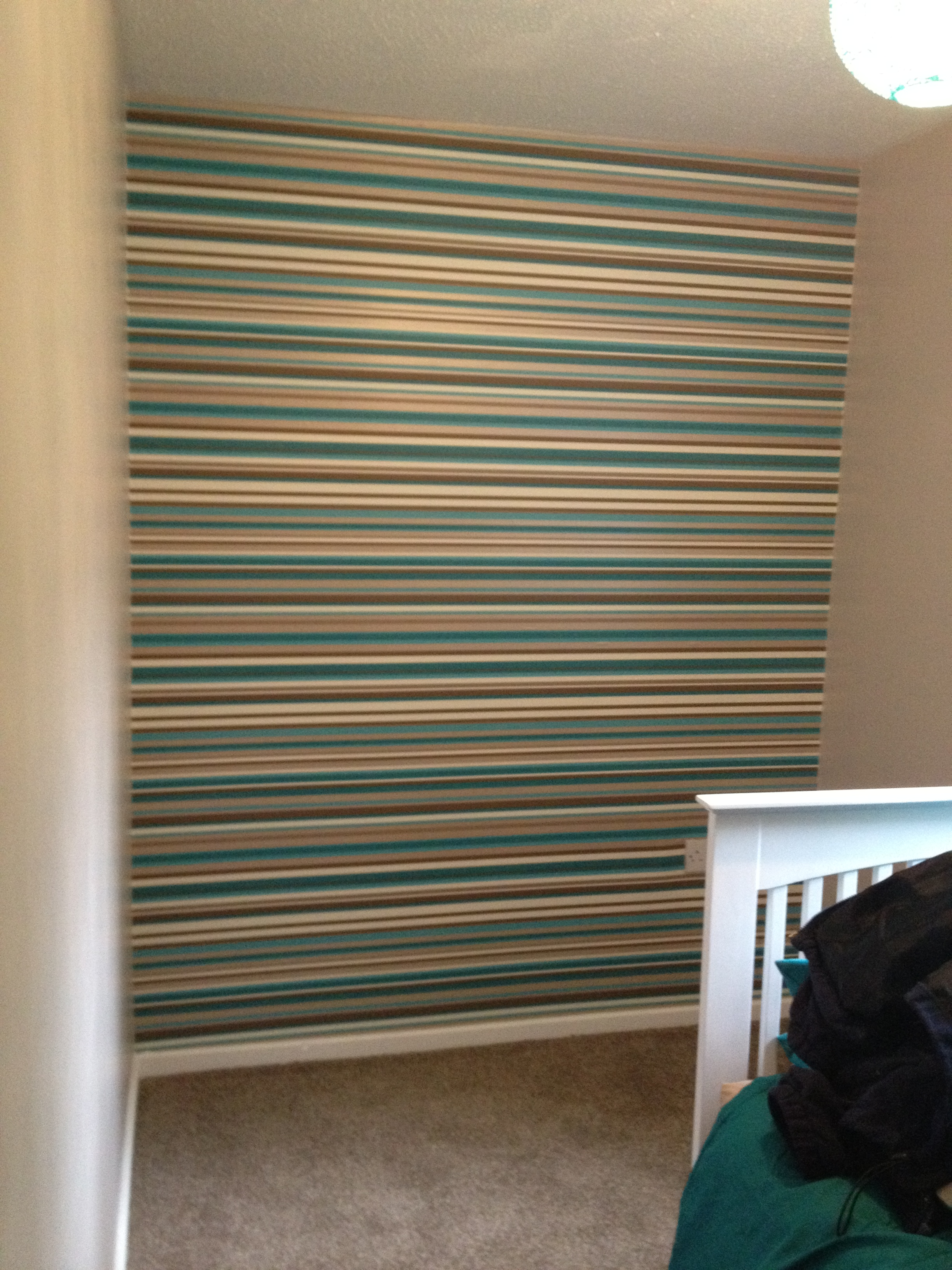 kelly and i decided to opt for horizontal striped wallpaper 2448x3264