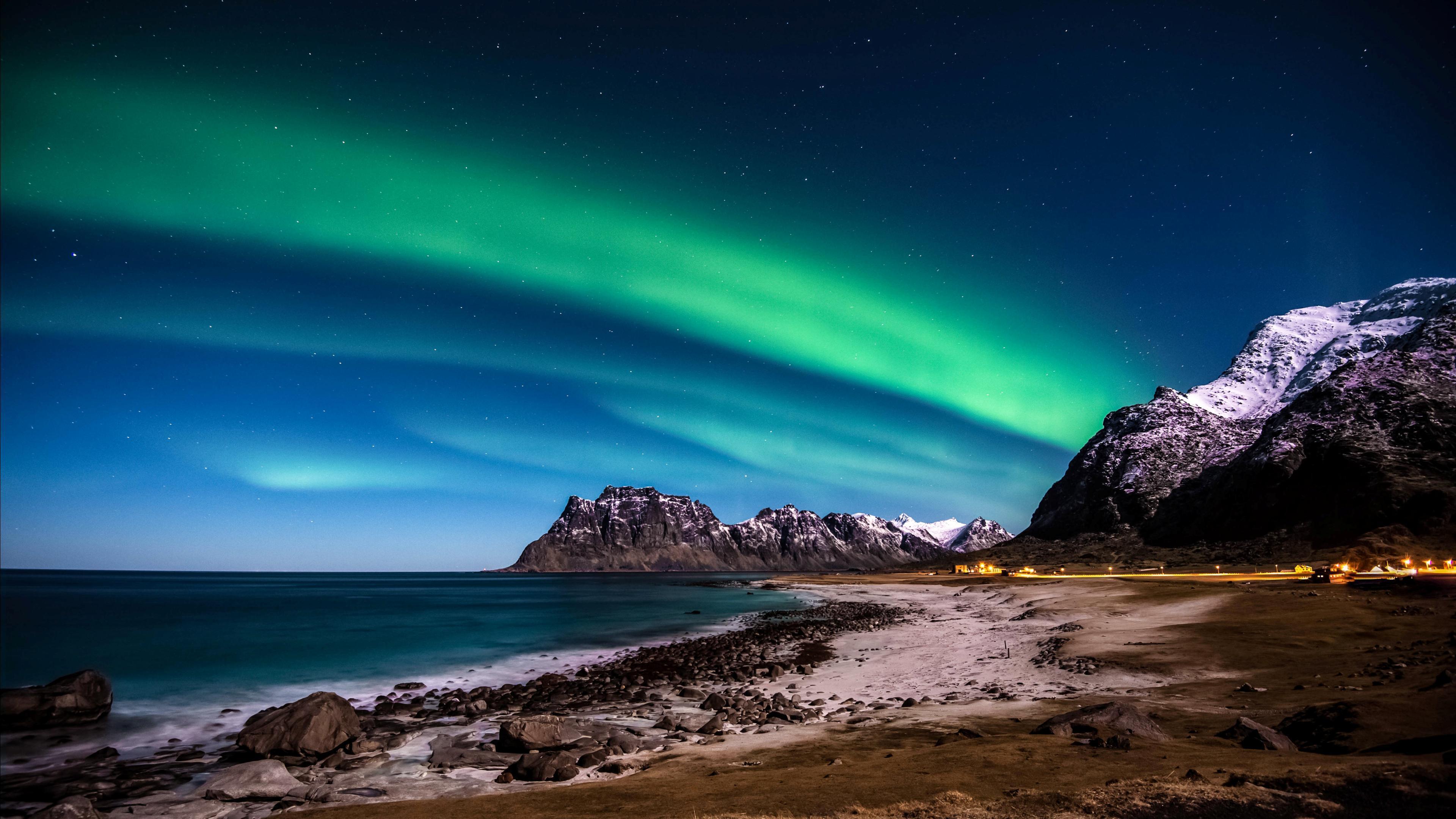 îles Lofoten aurores boréales de fond d'écran hd: écran large ...