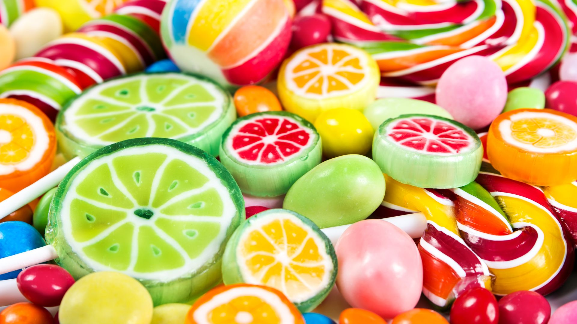 Multi Shape and Color Sweet Candies Wallpaper   Wallpaper Stream 1920x1080