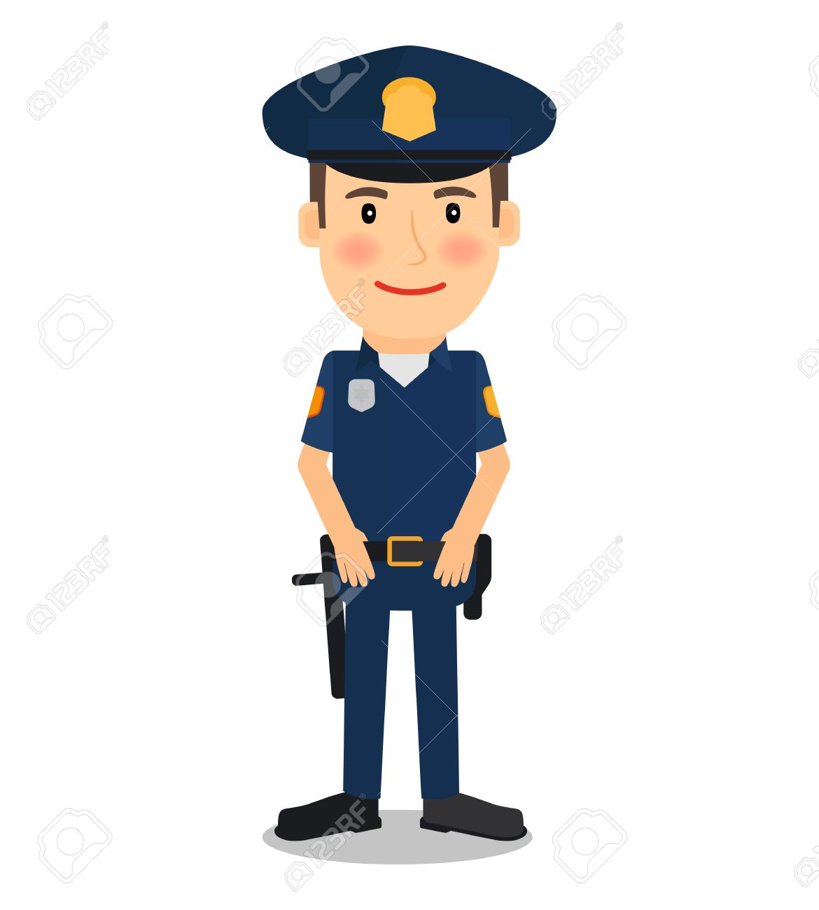 Policeman And Police Officer Character On White Background Vector 1170x1300
