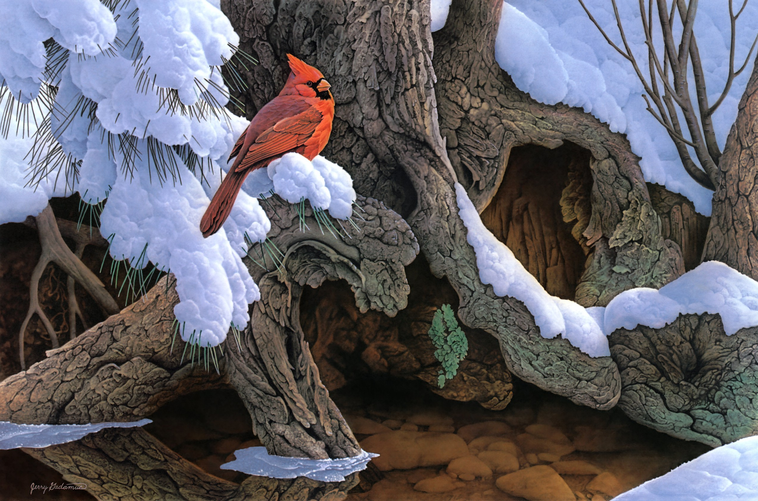 Painting snow winter tree bird cardinal wallpaper 2545x1685 132748 2545x1685