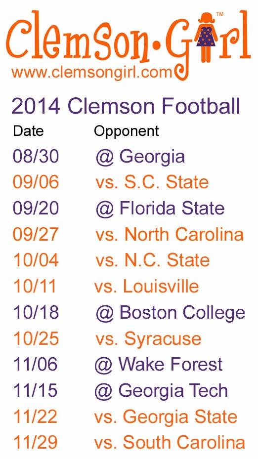 Clemson Football Schedule 2014 522x929
