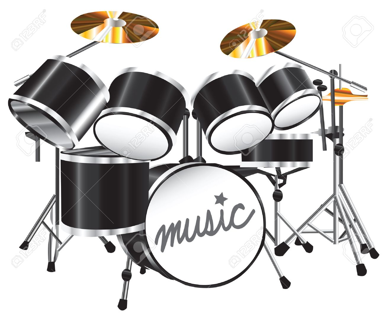 Illustration Drum Set On White Background Royalty Cliparts 1300x1065