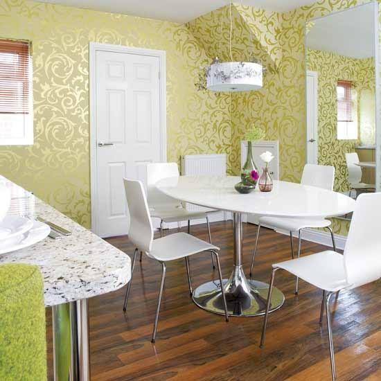 Shimmering wallpaper dining room Dining rooms Decorating ideas 550x550