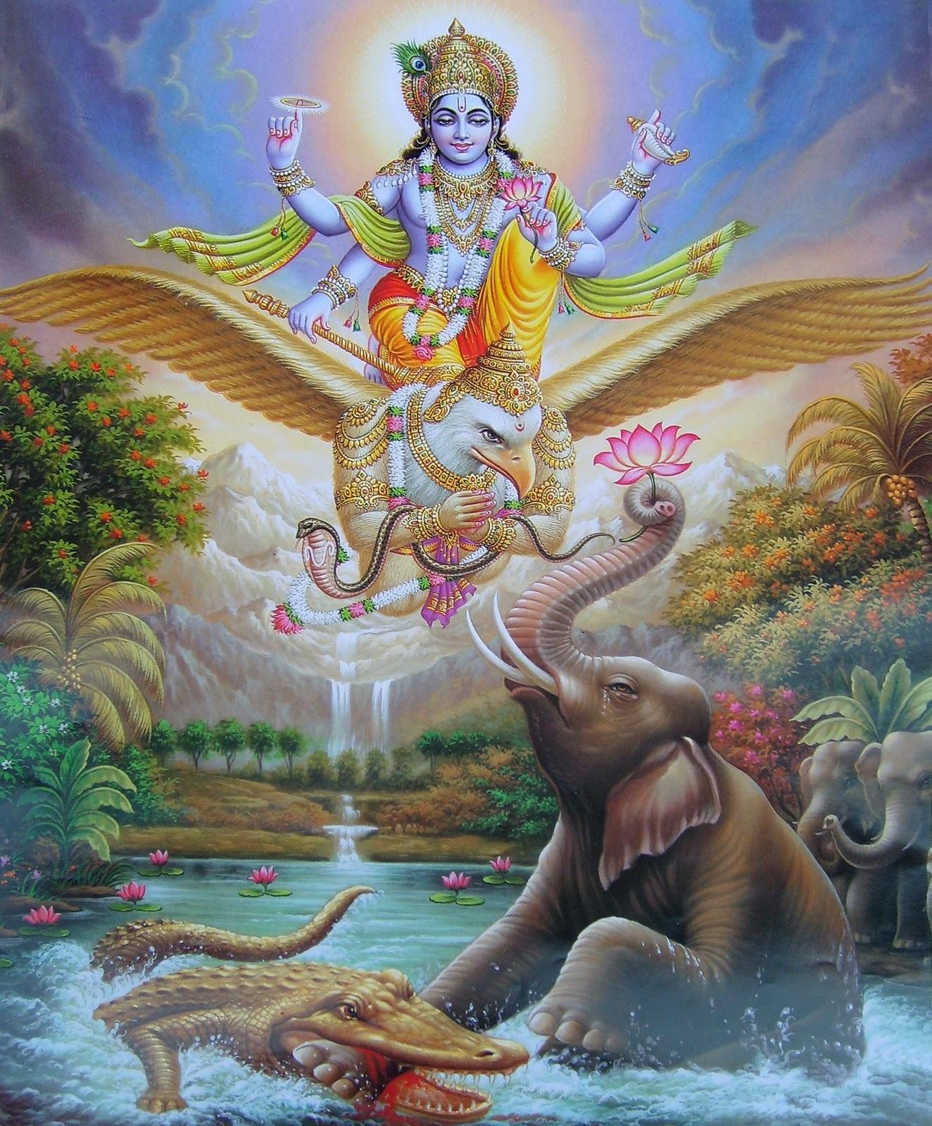 HINDU GOD WALLPAPERS Lord Vishnu   Garuda   Gajendra Moksha 1324x1600