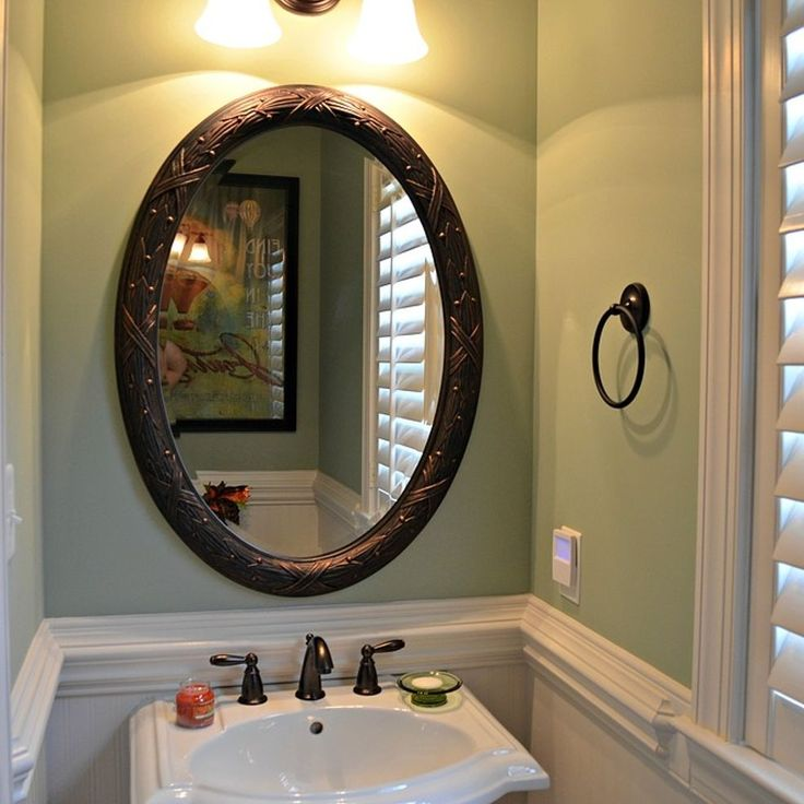 Half Bath makeover using beadboard Wallpaper and Behr paint 736x736