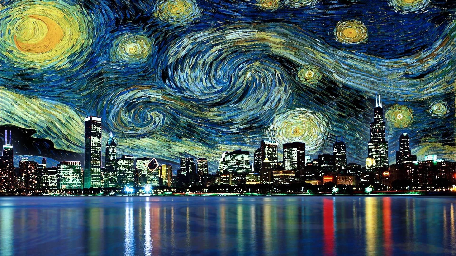 Vincent Van Gogh Starry Night Wallpaper 1920x1080