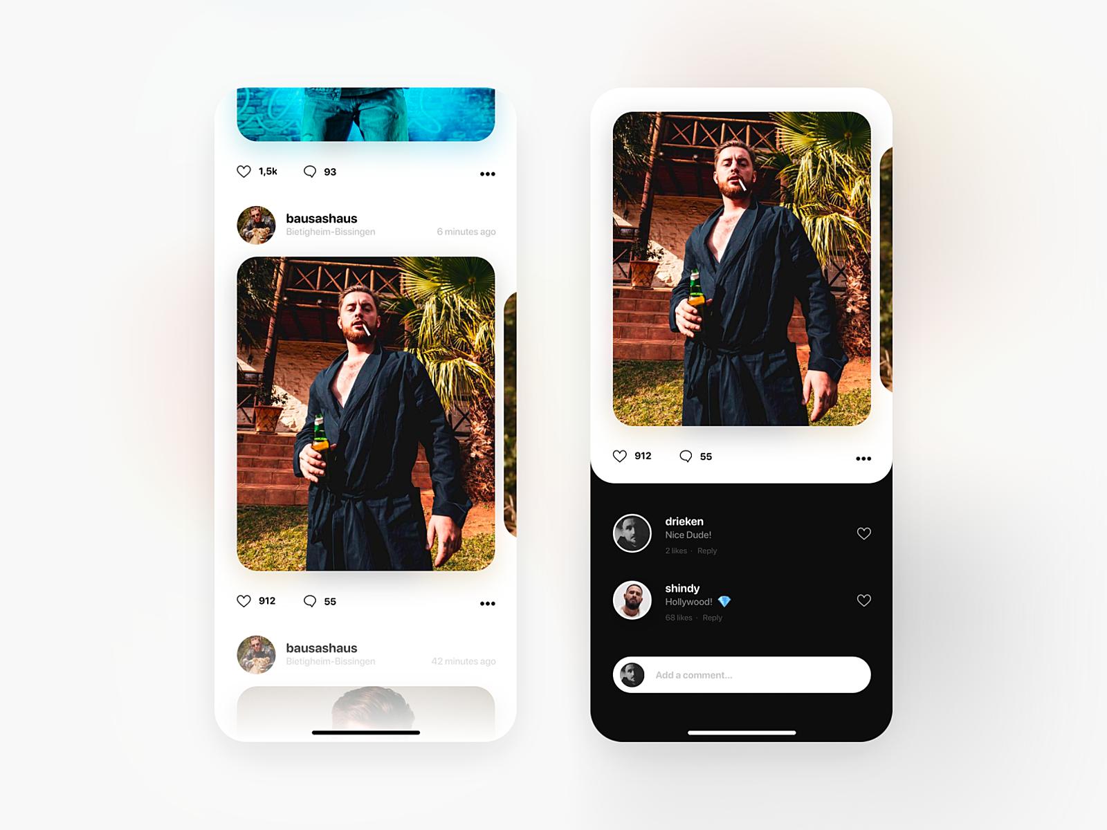 Redesigned Instagram Feed by Dominik Rieken on Dribbble 1600x1200