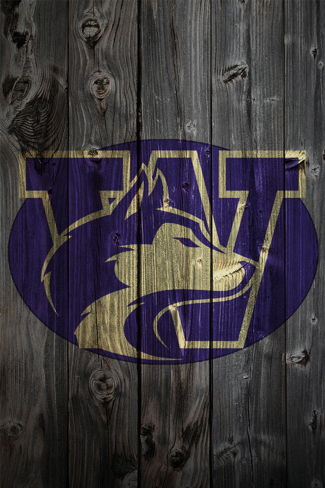 Washington Huskies Logo on Wood Background   iPhone 4 wallpaper 640x960