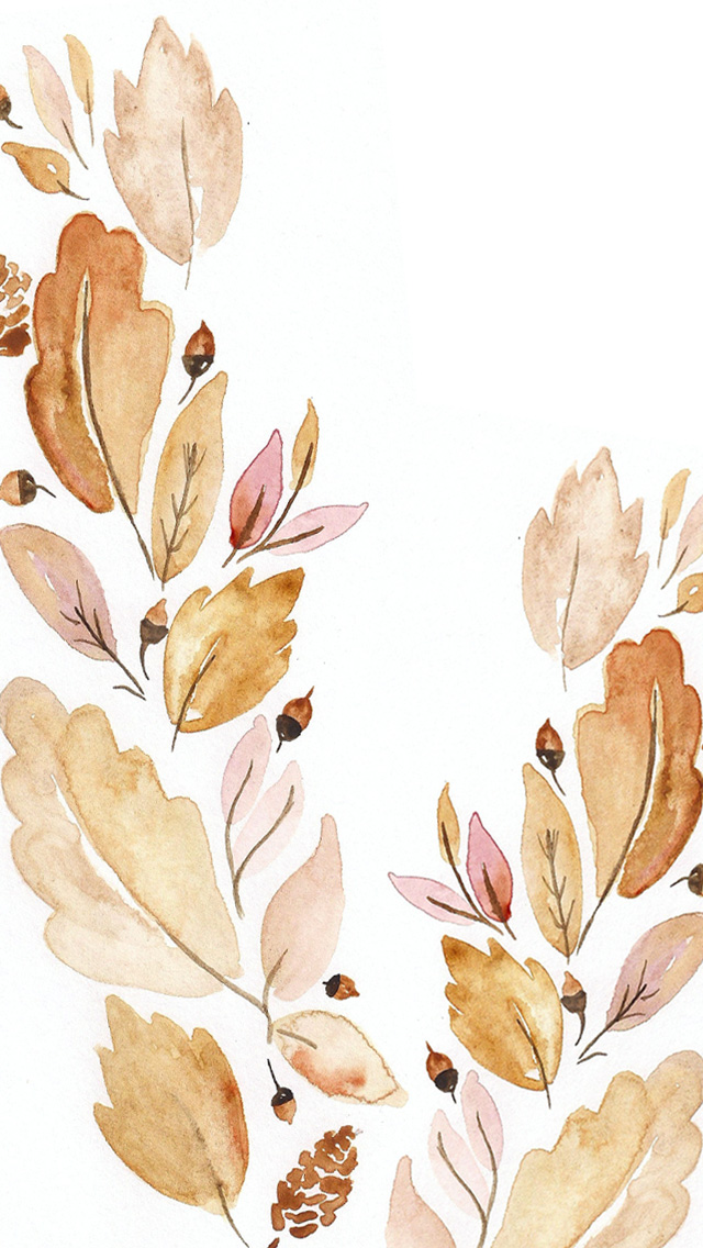 September Digital Watercolor Wallpaper 640x1136