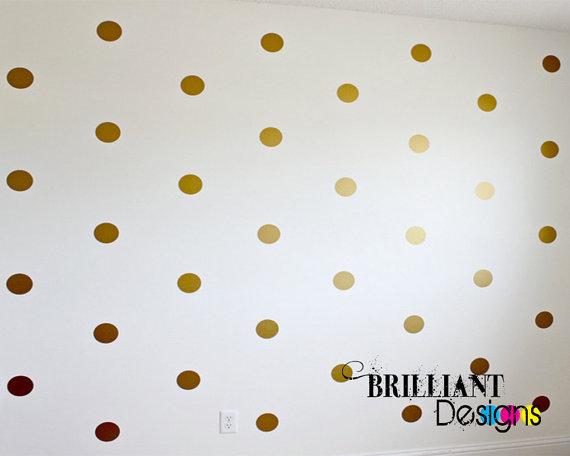 Peel and Stick Polka Dot Metallic Gold Wall Decals Polka Dot Vinyl 570x456