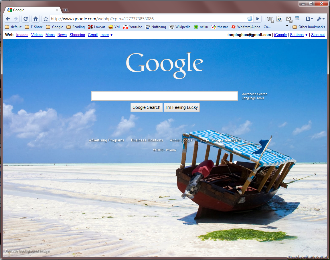 how to change google background on safari