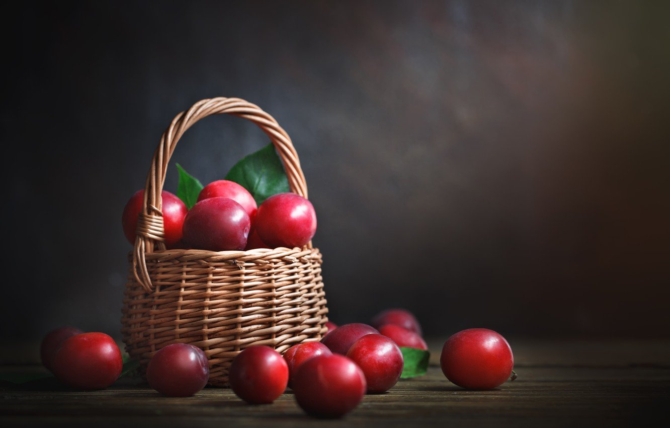 Wallpaper background fruit basket plum images for desktop 1332x850