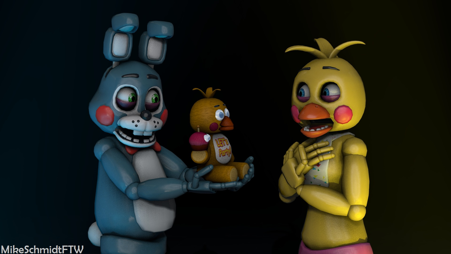Toy Bonnie and Toy Chica by OfficerSchmidtFTW 1920x1080