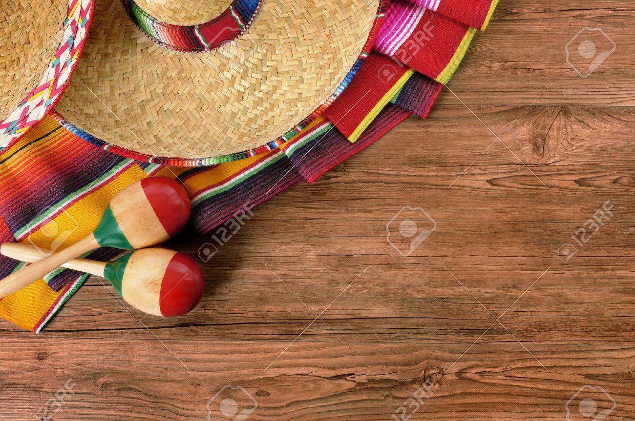 Mexico Cinco De Mayo Wood Background Mexican Sombrero Stock Photo 1300x863