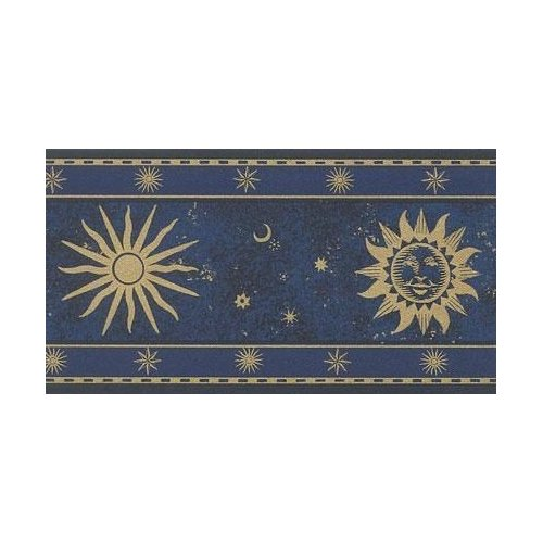 Wallpaper Border Navy Blue and Gold Celestial Sun Moon and Stars 500x500