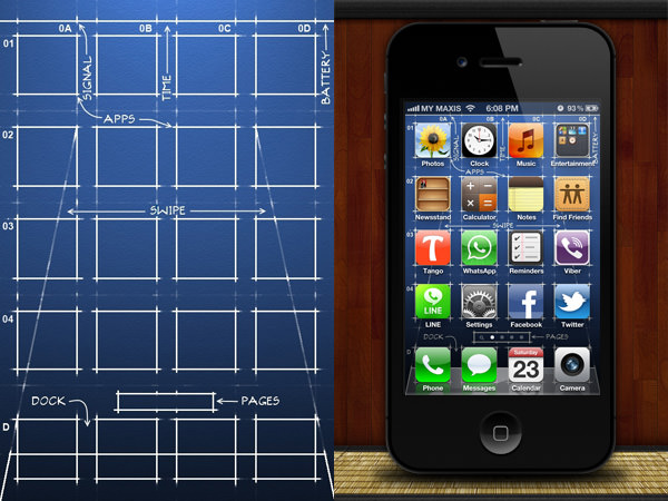 got the actual blueprints to the first design of the iPhone interface 600x450