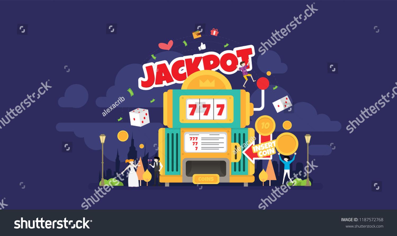 Jackpot Casino Night Tiny People Character Stock Vector Royalty 1500x891