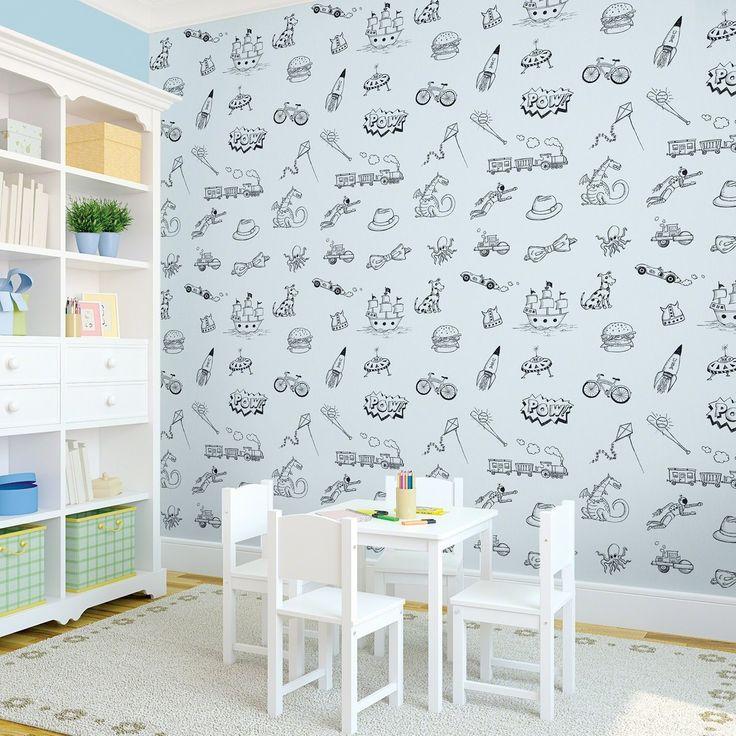 Doodle BlueBlack Removable Kids Wallpaper 736x736