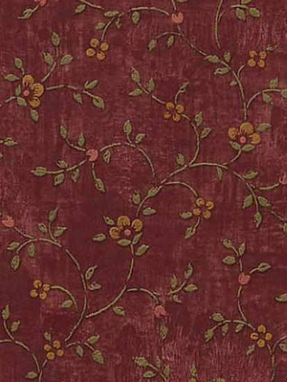Calico Burgundy Wallpaper   Rustic Country Primitive 413x550