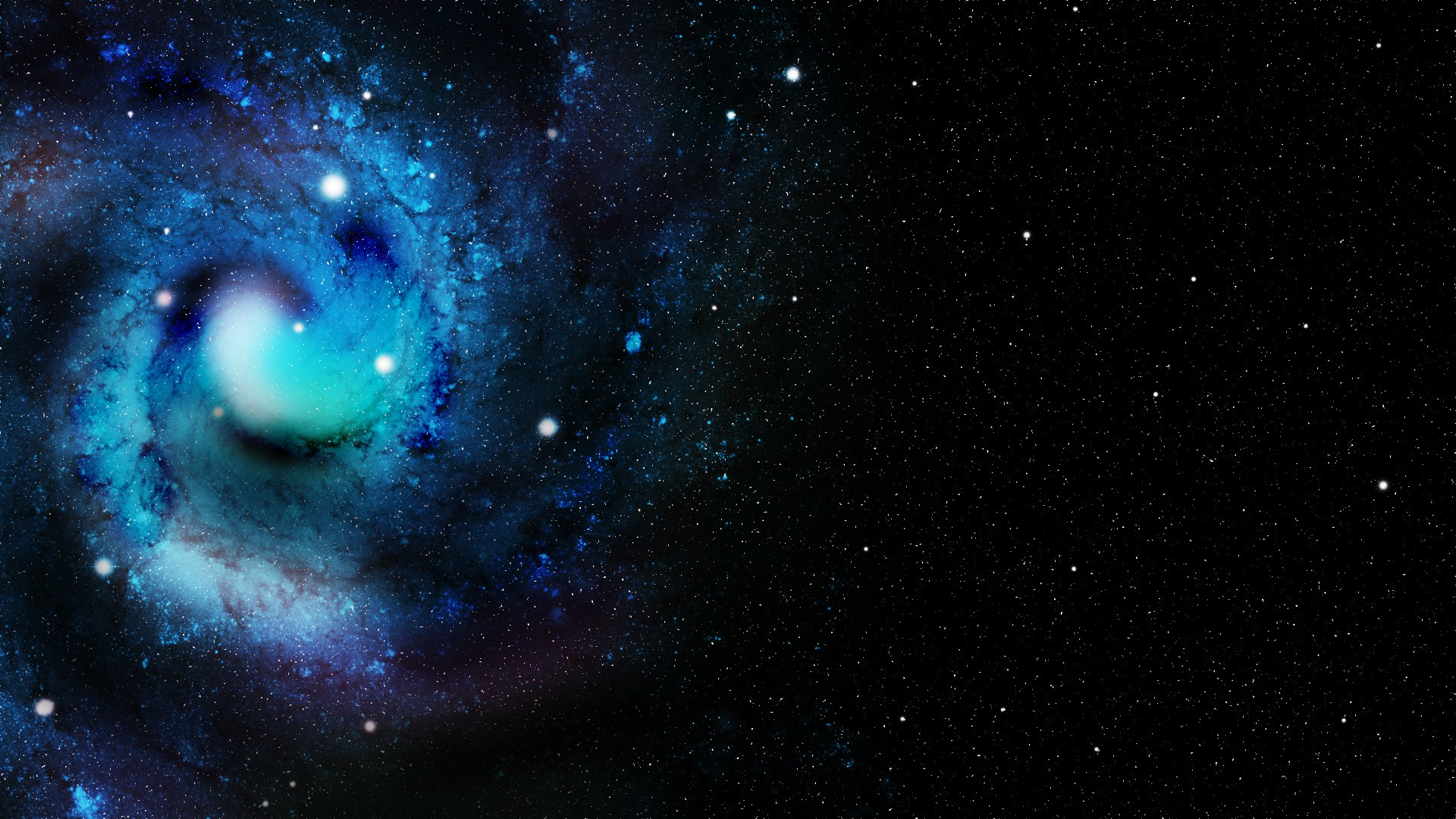 Space Blue Stars Galaxy Spiral Galaxy Amazing 1920x1080