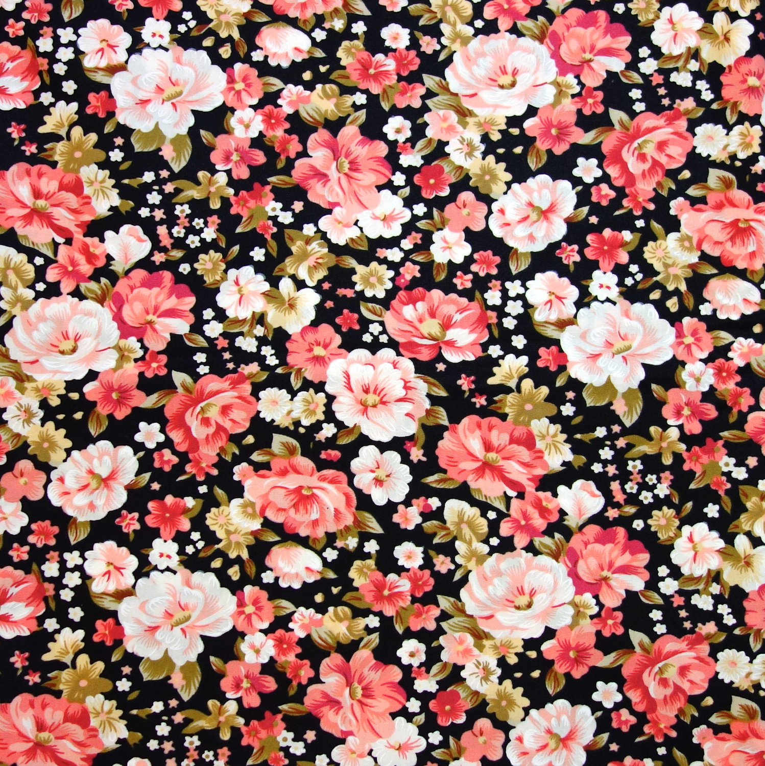 Free Download Black Floral Fabric Red And Pink Roses On By