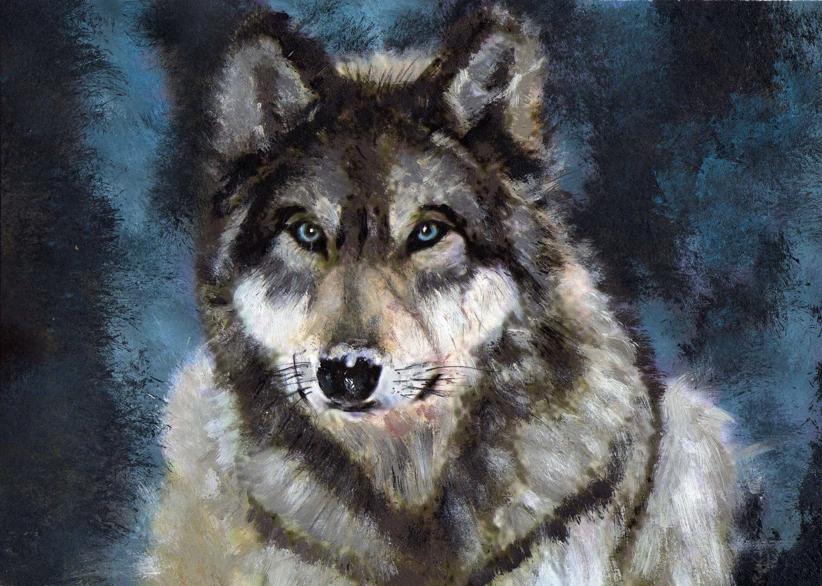 gray wolf by barefoottiger traditional art paintings animals 2009 2015 1600x1141