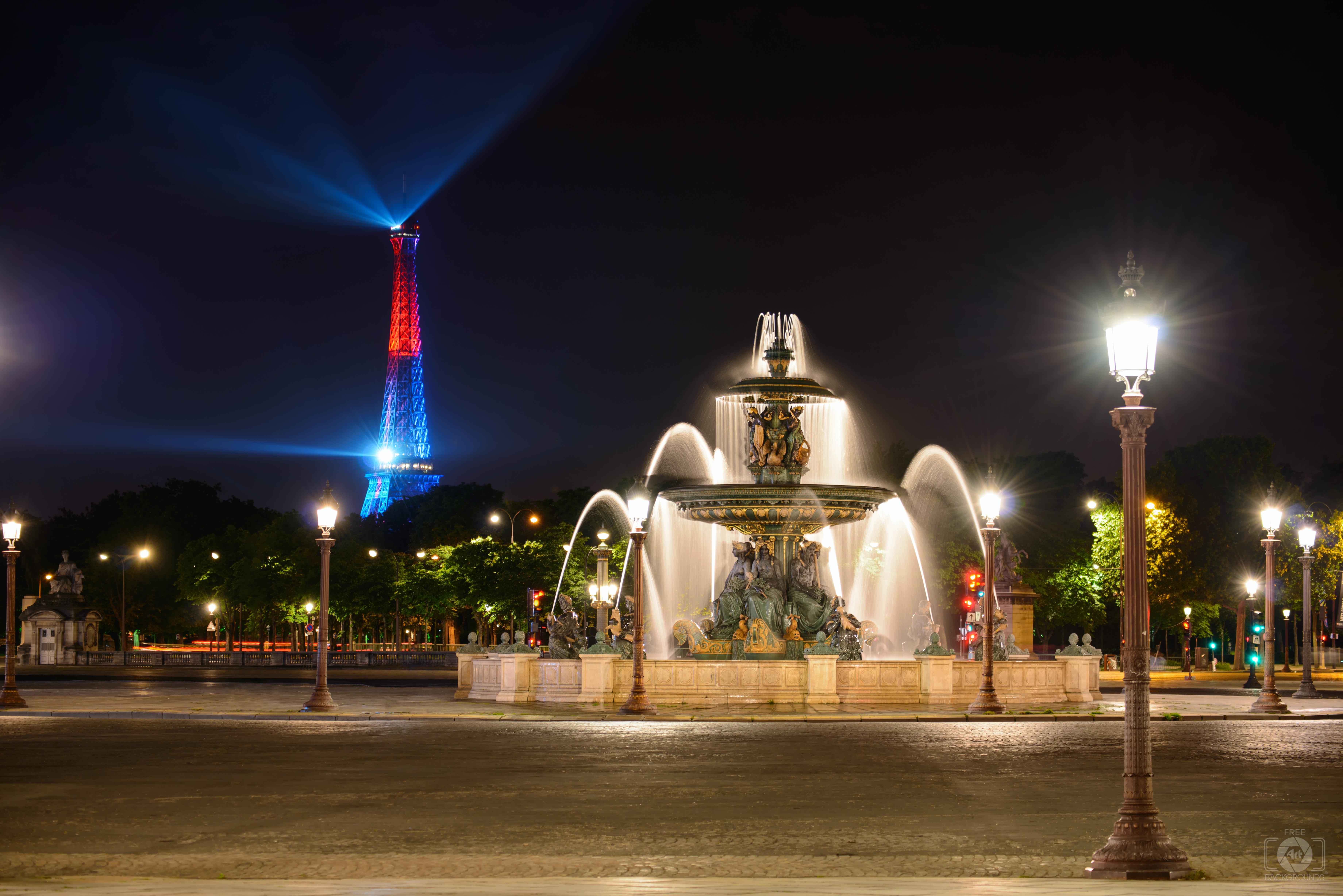 Place de la Concorde Fountain and Eiffel Tower Paris Background 7360x4912