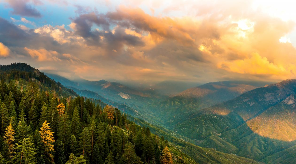 USA Parks Scenery Mountains Forests California Clouds Kings Canyon 1260x700