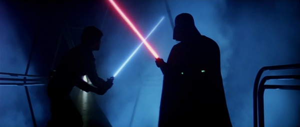 star wars lightsabers darth vader luke skywalker Wallpaper 600x255