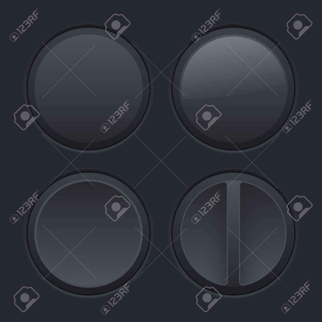 Round Black Plastic Buttons On Matted Background Vector 1300x1300