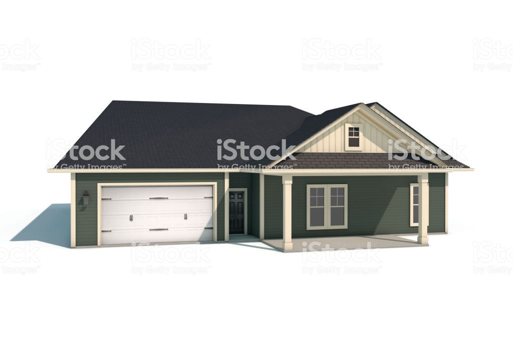 3d Craftsman Style House On White Background Stock Photo 1024x682