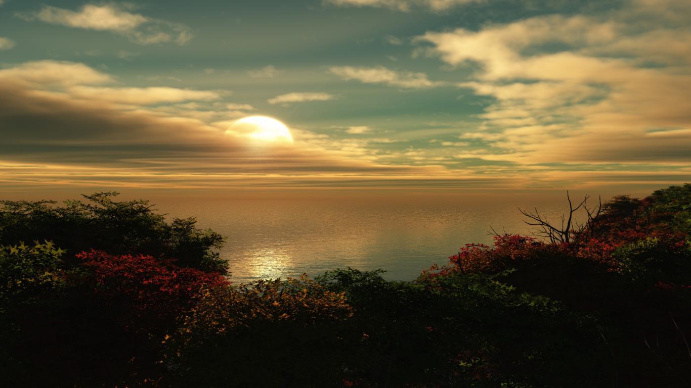 Download HD Beautiful Sunset 3D Windows 8 Wallpaper 25601920 1366x768