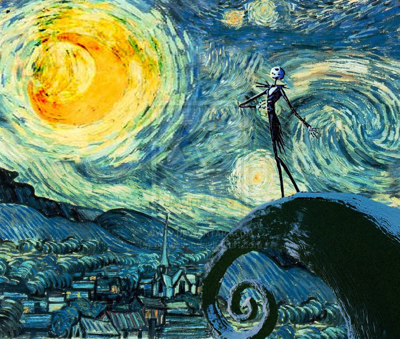 skellington on a starry night by opheliact on DeviantArt