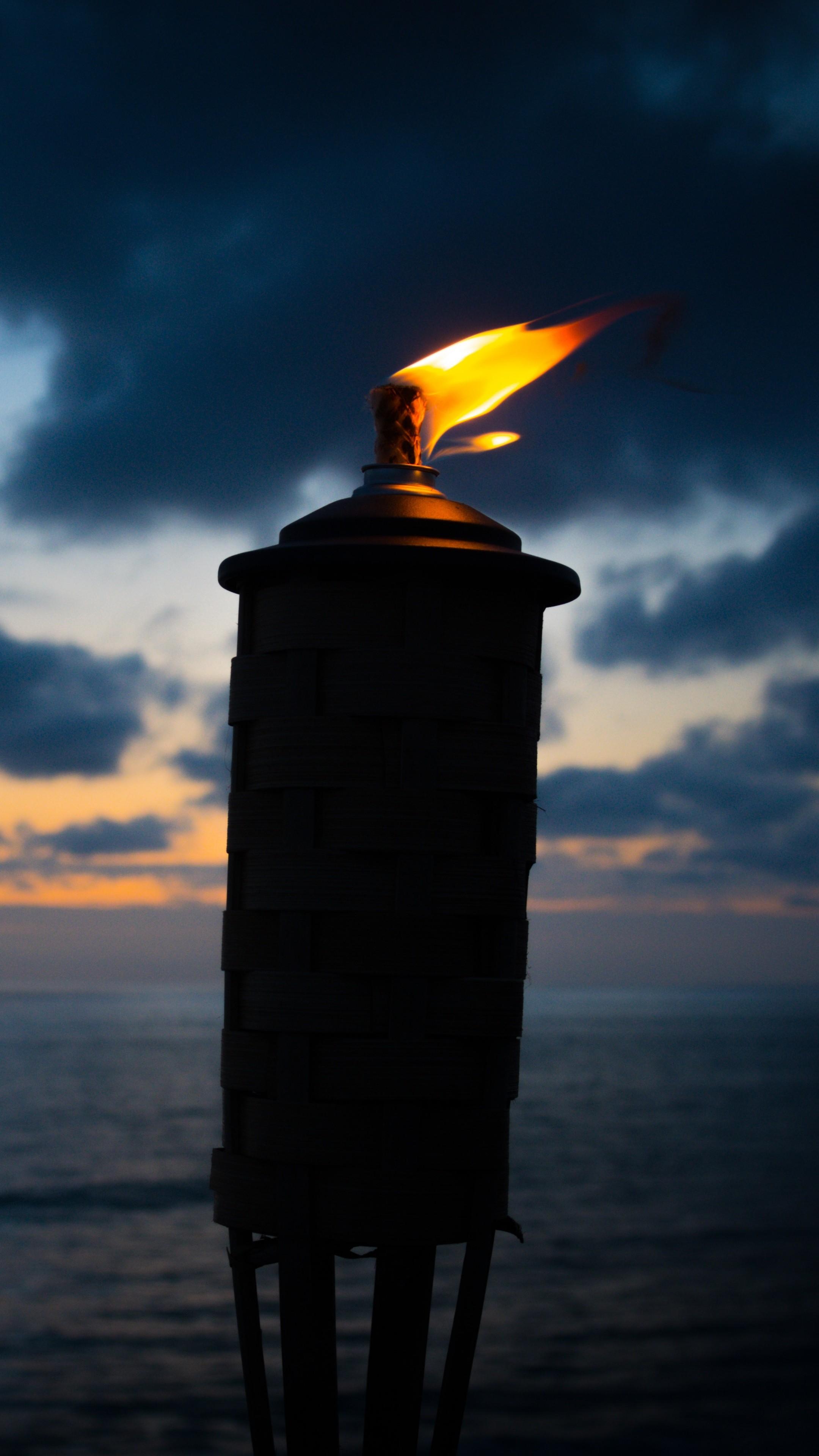 Torch Fire Wick Night Wallpaper   [2160x3840] 2160x3840
