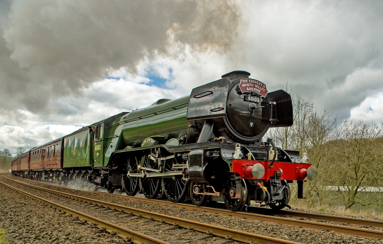 Wallpaper train the engine railroad Flying Scotsman images for 1332x850