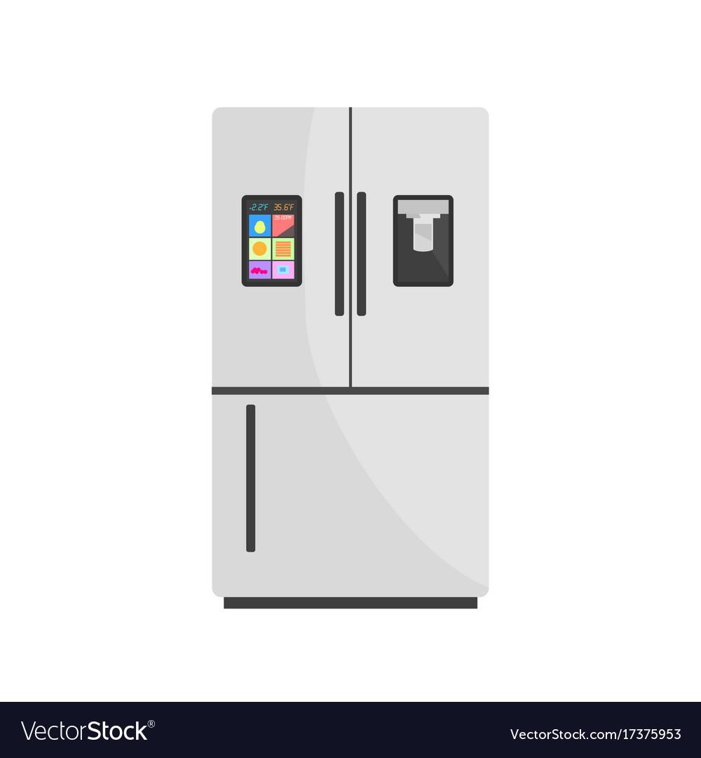 Modern smart fridge isolated on background Vector Image 1000x1080