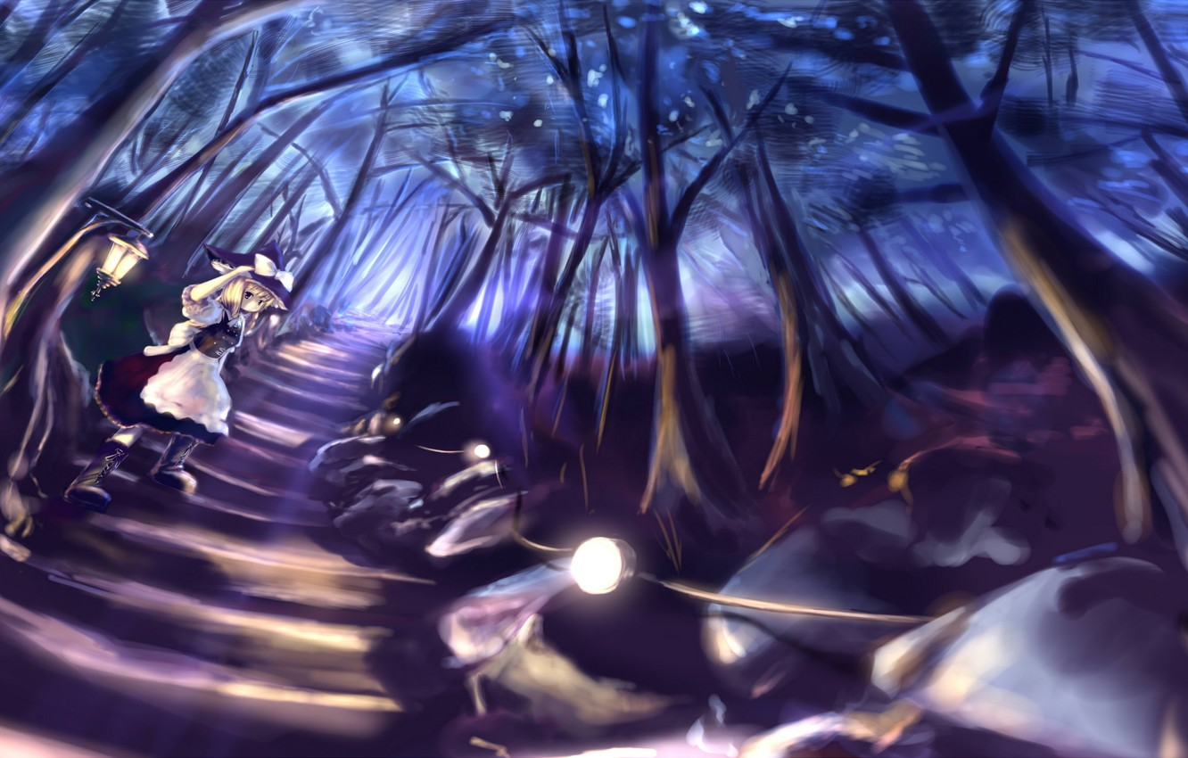 Wallpaper road forest girl trees night nature anime art 1332x850