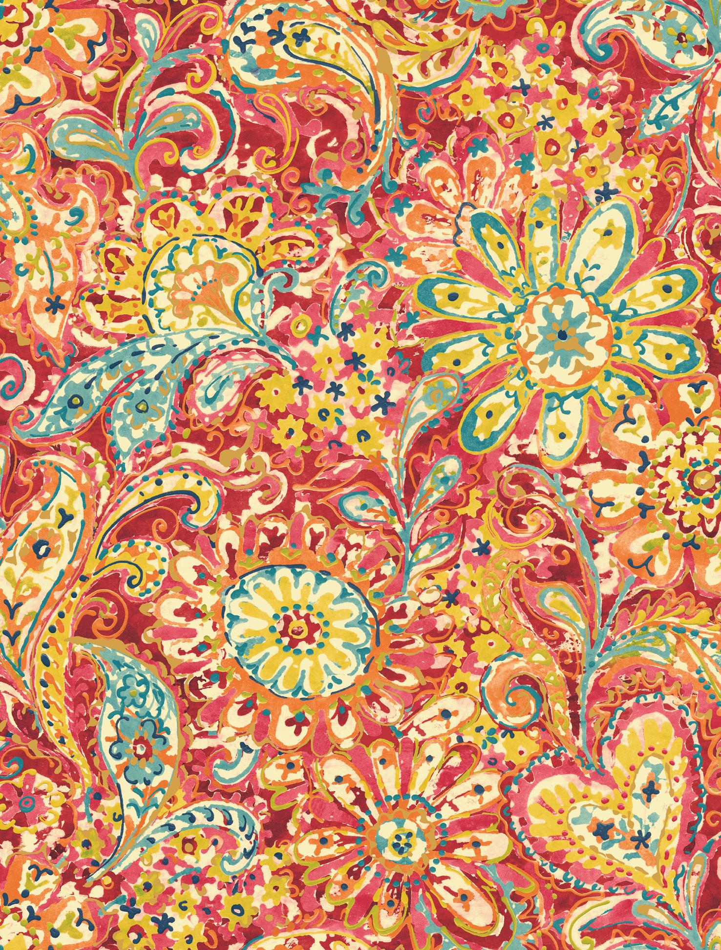 Red paisley wallpaper wallpapersafari for Paisley wallpaper