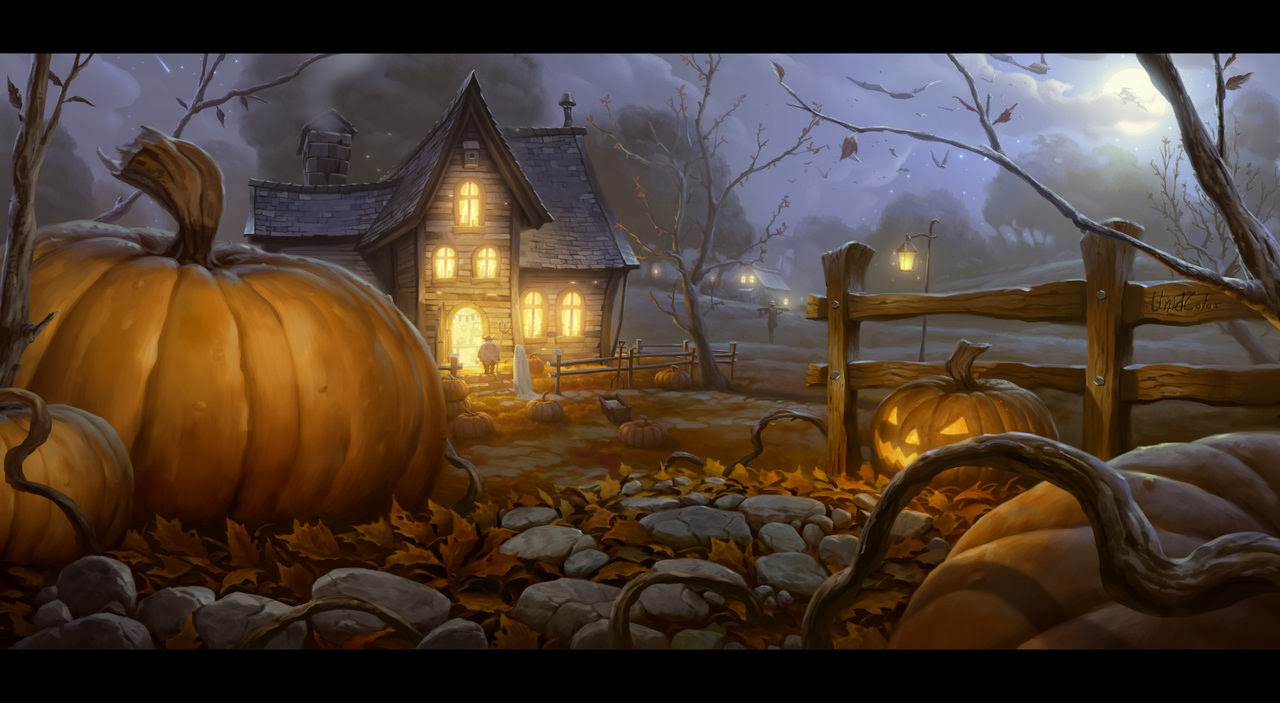 Halloween Pumpkin House Night Holiday HD Wallpaper w3 1280x703