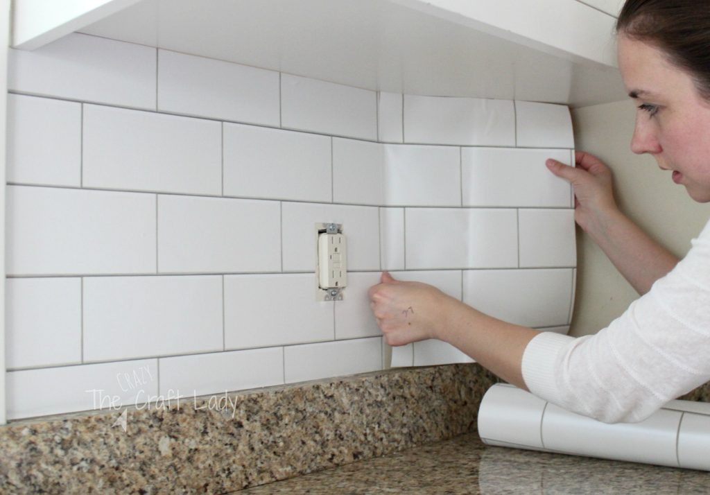 White Subway Tile Temporary Backsplash